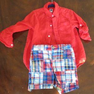 Janie & Jack 2T red linen shirt madras plaid short